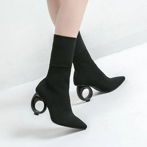 Trendy Design Boots Ankle Long Size 34 - 40 Black Apricot