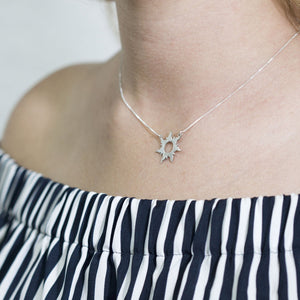 Engraved Rapunzel Sun Necklace In Sterling Silver