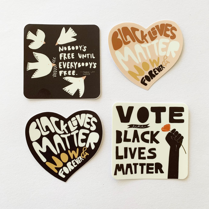 Black Lives Matter Sticker Bundle- Set of 4