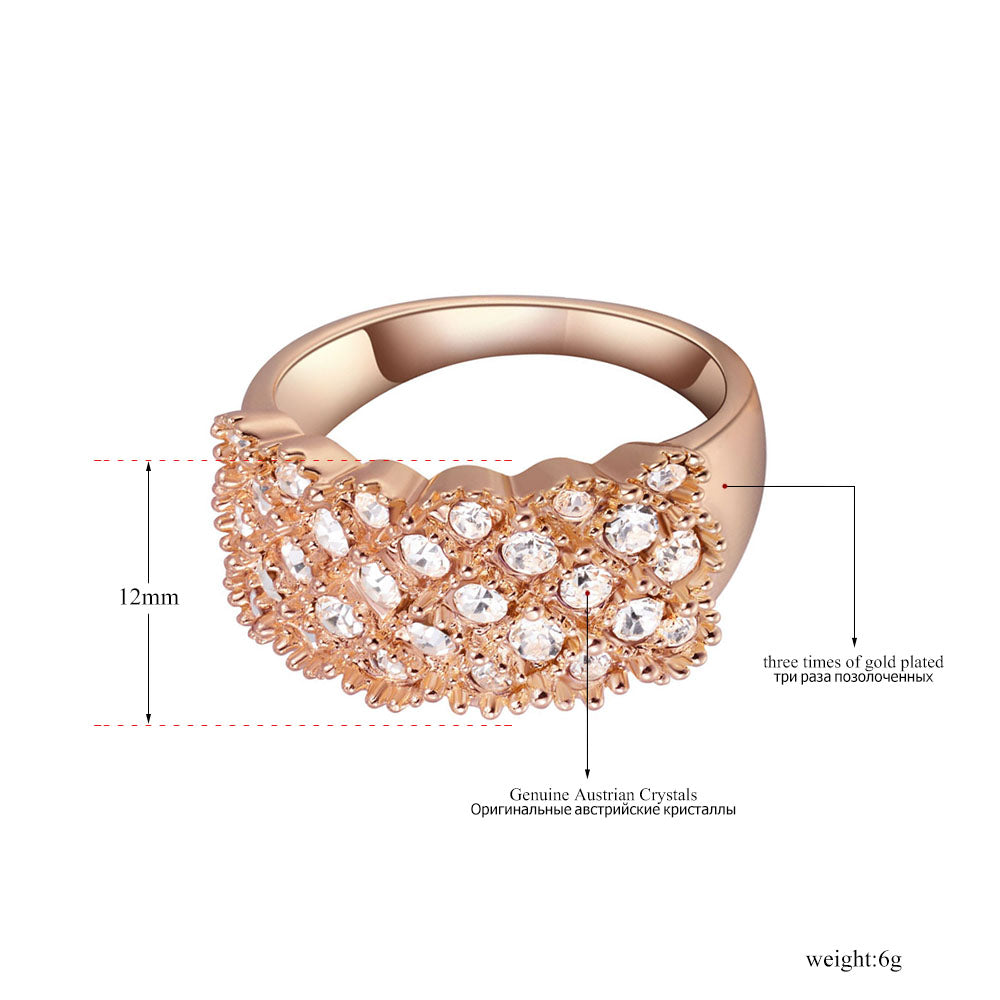 Trendy Vintage Ring Jewelry Rose Gold Color Austrian Crystal