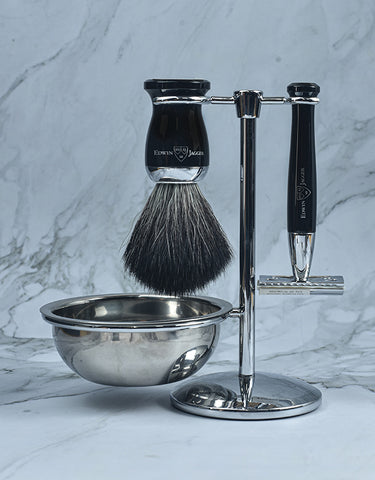Edwin Jagger - Diffusion 72 Series - 4pc Set, Double Edge Safety Razor, Shaving Brush, Imitation Ebony, Black Synthetic Fibre with Stand and Bowl, Chrome Plated