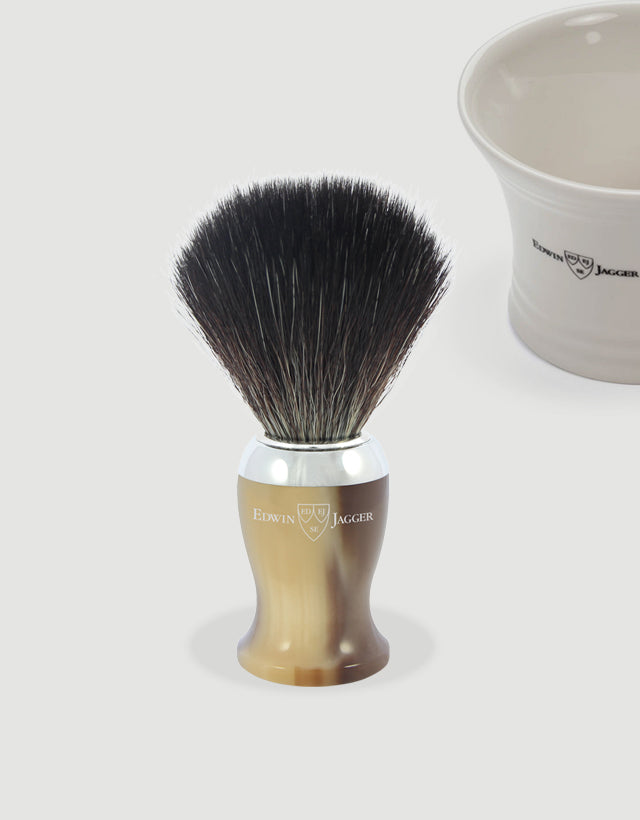 Edwin Jagger - Diffusion 72 Series - Shaving Brush, Black Synthetic Fibre, Imitation Light Horn, Chrome Plated