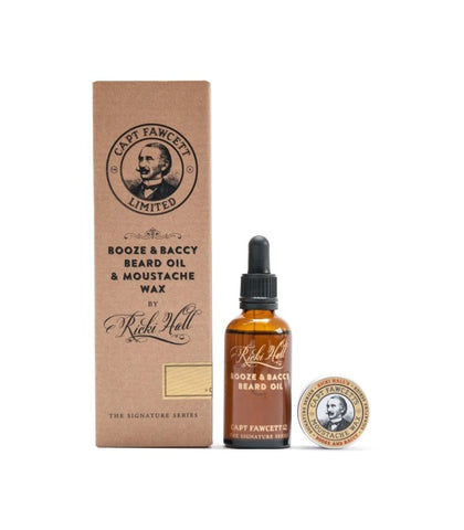 Captain Fawcett - Ricki Hall Booze and Baccy Set, Moustache wax and Beard oil