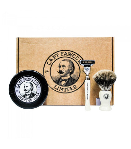 Captain Fawcett - Shaving Brush, Razor and Shaving Soap Gift Set