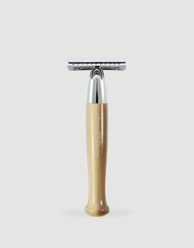 Edwin Jagger - Diffusion 72 Series - Double Edge Safety Razor, Imitation Light Horn, Chrome Plated, Feather Blade