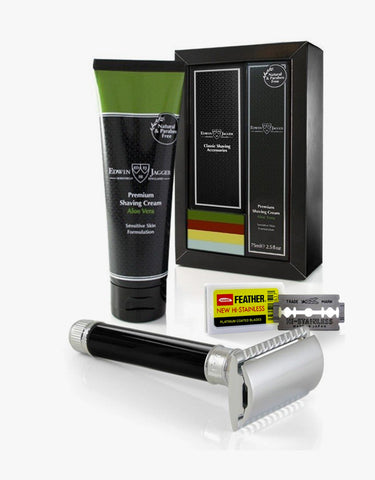 Edwin Jagger - Boxed Gift Set, Double Edge Safety Razor, Imitation Ebony With Aloe Vera Shaving Cream 75ml/2.5fl Oz Tube, Feather Blade