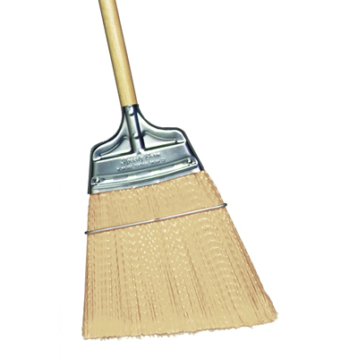 Upright Broom, Tan Flagged Polypropylene Angled, Large Flare, Wood Handle