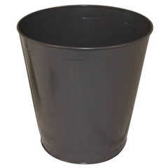 Round Metal 14 Quart Brown Wastebasket