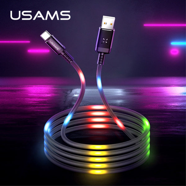 Cable Usb Tipo C USAMS US-SJ287 Carga Rapida 2A Audioritmico Led 1 Metro