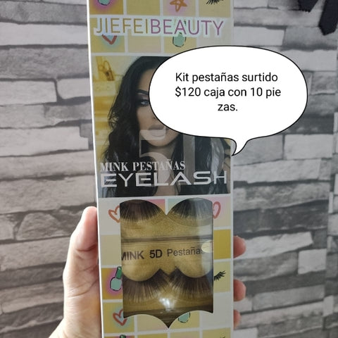 10 PARES DE PESTAÑAS JIEFEI BEAUTY MINK 5D PELO NATURAL