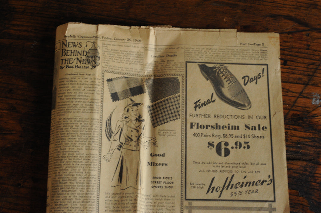 Vintage Florsheim wingtip shoes in cordovan newspaper add