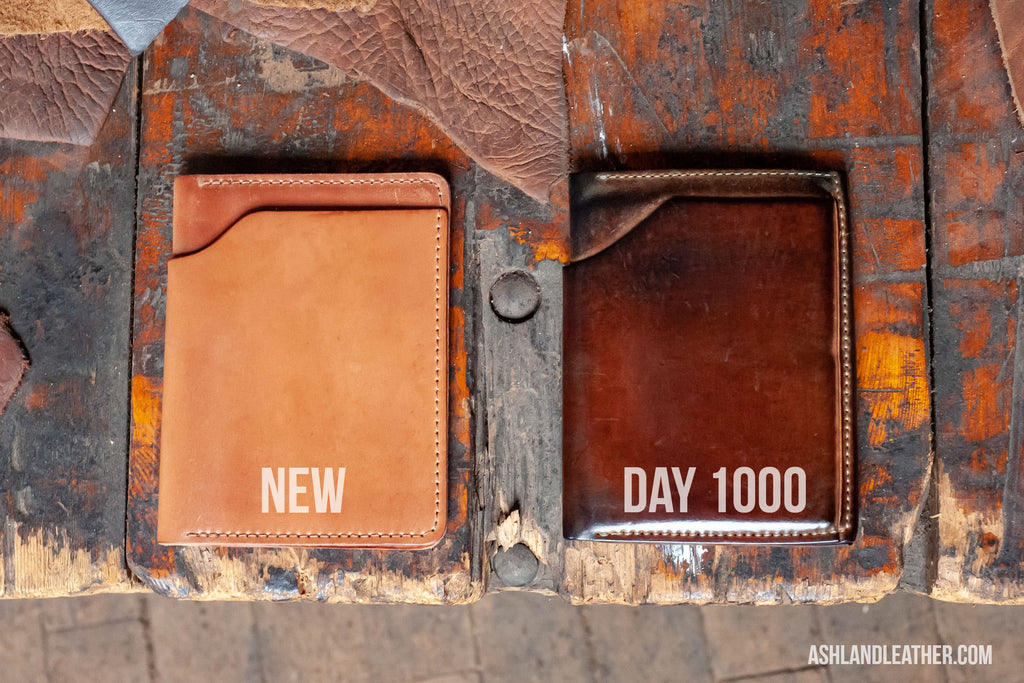 Ashland Leather Fat Herbie wallet in Horween natural shell cordovan before and after