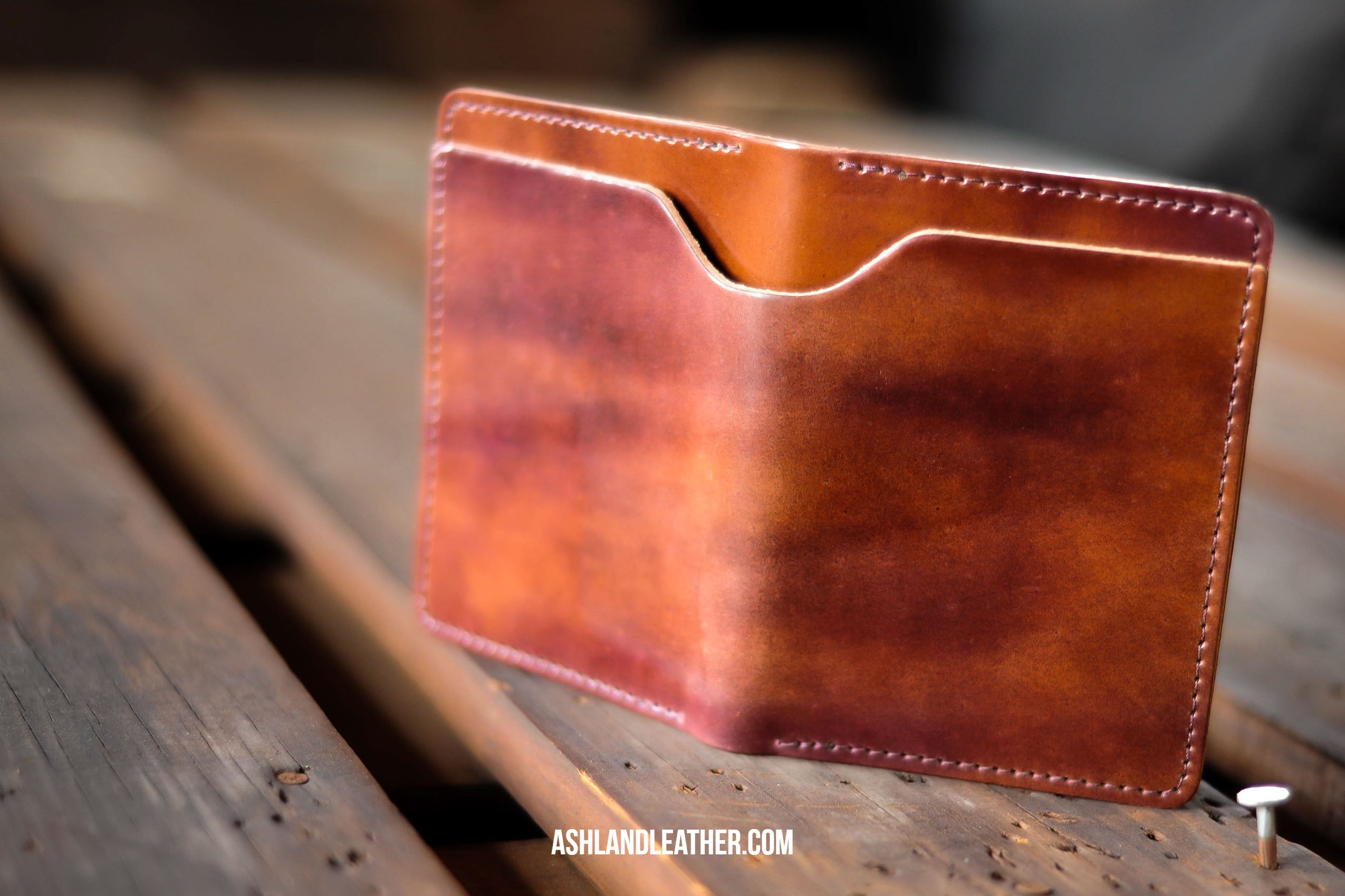 Ashland leather Fat Herbie in color #8 marbled shell cordovan