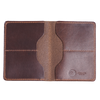 Interior of brown wallet with four card slots made from Horween leather
