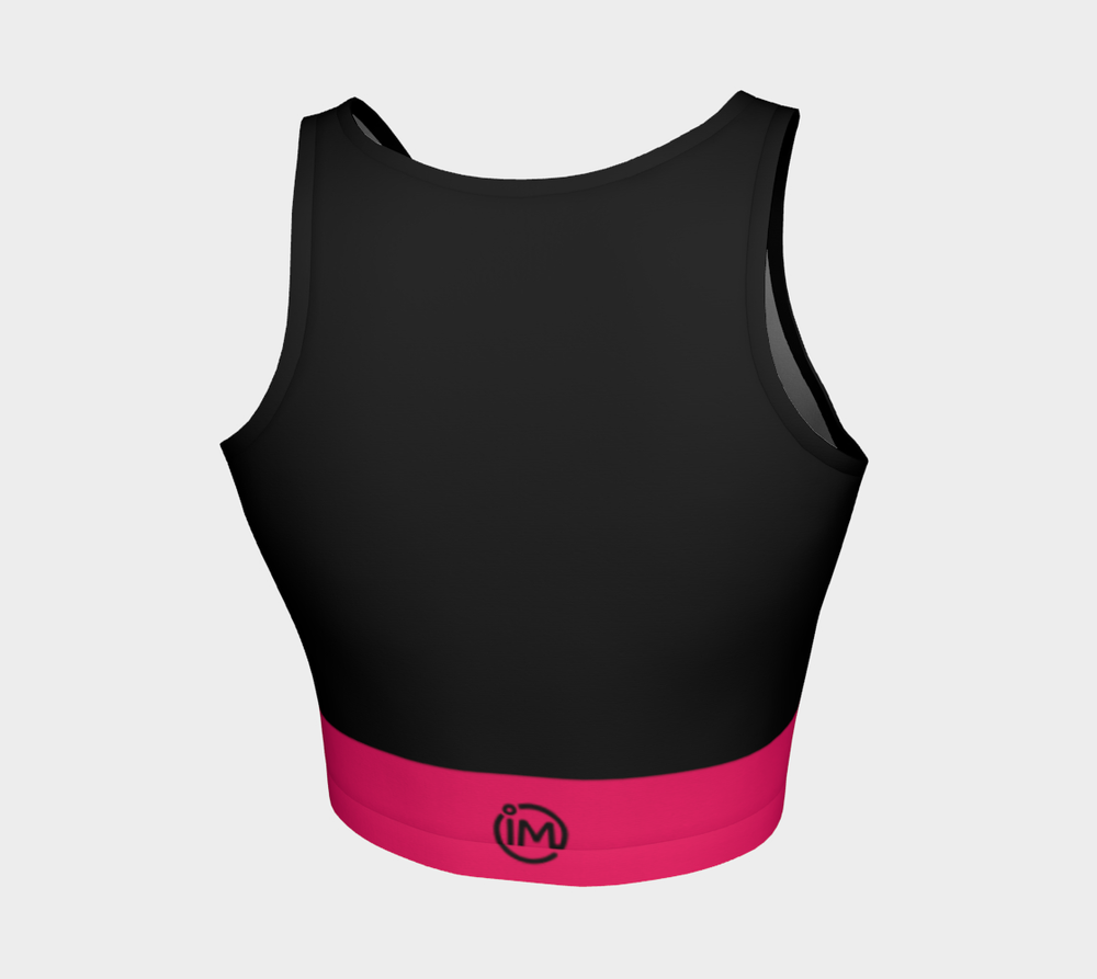 Black Athletic Crop Top with Ruby Band - IvaMichele