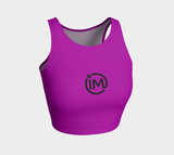 Purple IM Athletic Crop Top with Black Logo - IvaMichele