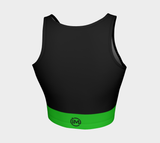 Black Athletic Crop Top with Green Band - IvaMichele