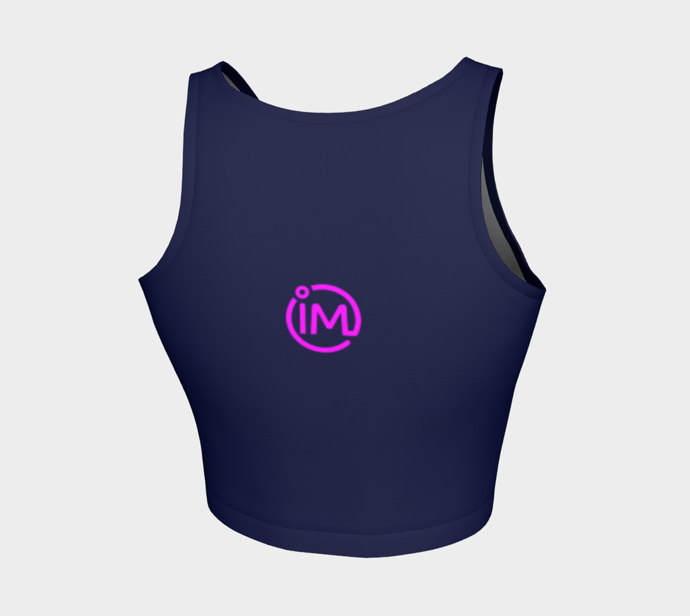Navy IM Athletic Crop Top with Magenta Logo - IvaMichele