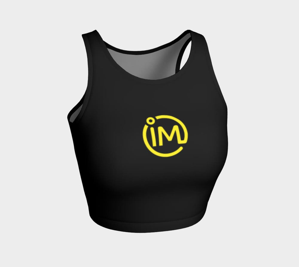 Black IM Athletic Crop Top With Yellow Logo - IvaMichele