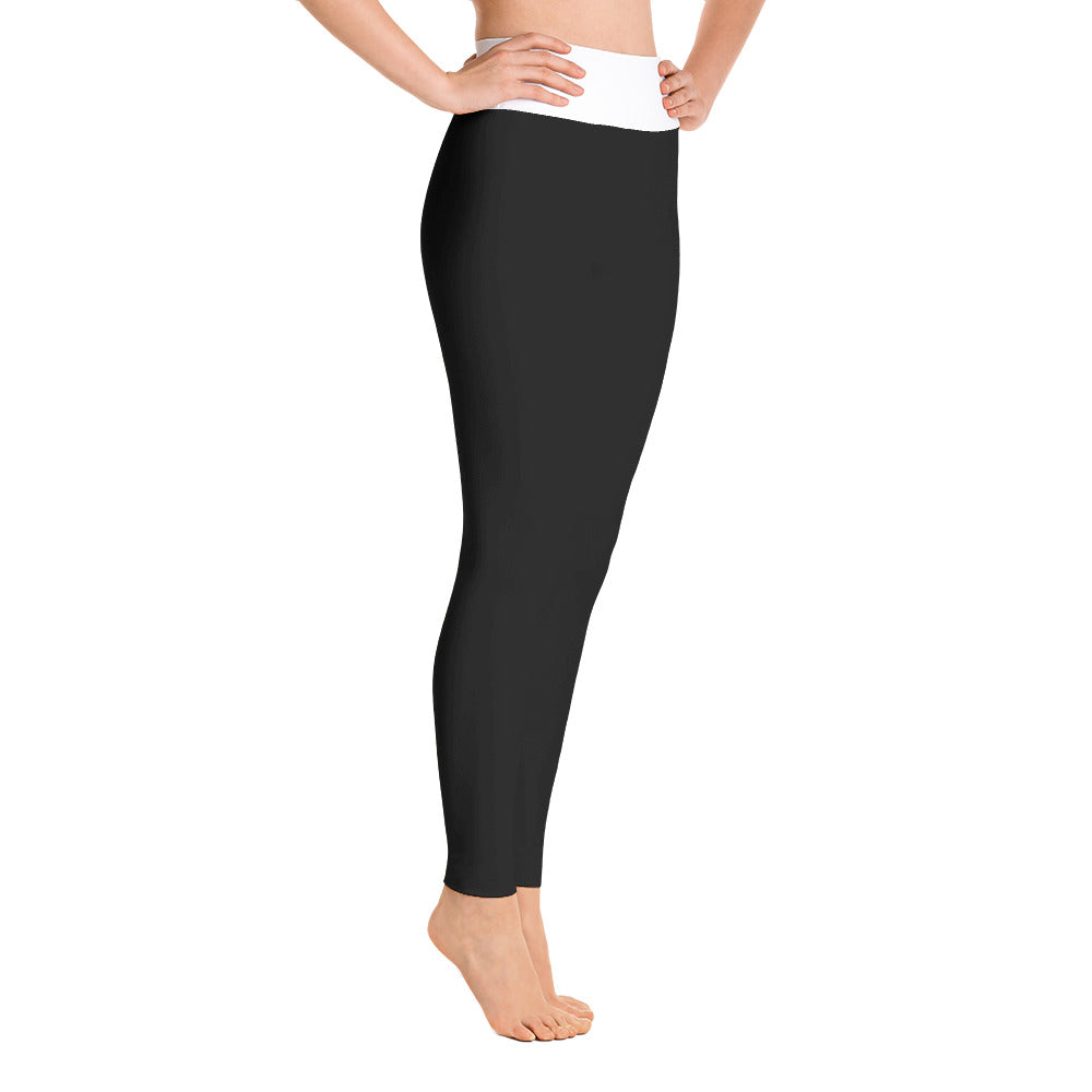 Black Yoga Leggings with White Waistband - IvaMichele
