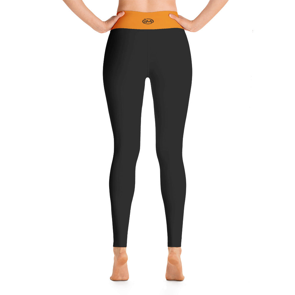 Black Yoga Leggings with Tangerine Waistband - IvaMichele