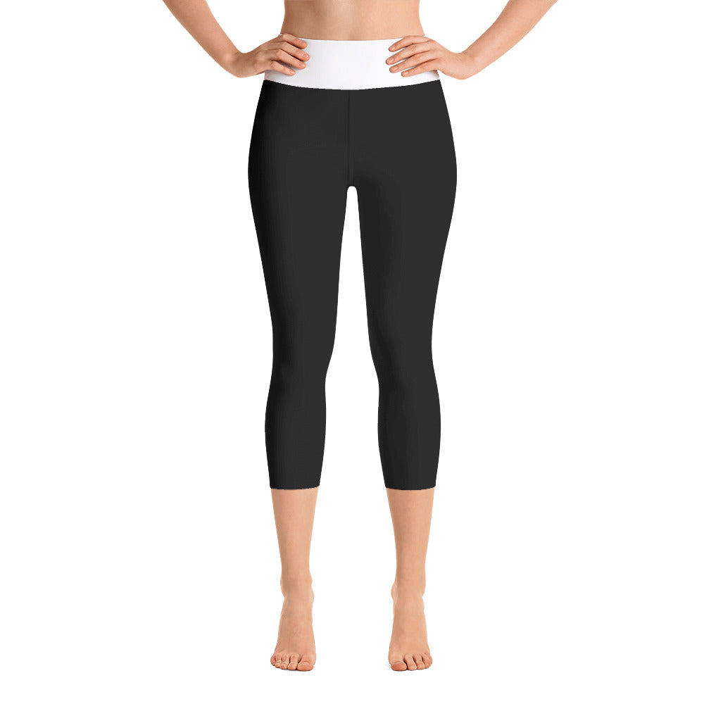 Black Yoga Capri Leggings with White Waistband - IvaMichele