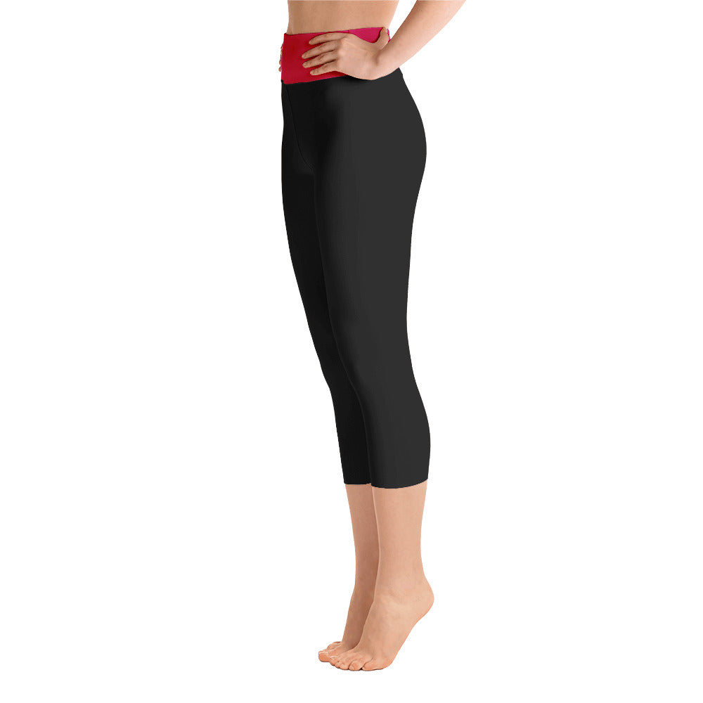 Black Yoga Capri Leggings with Ruby Waistband - IvaMichele