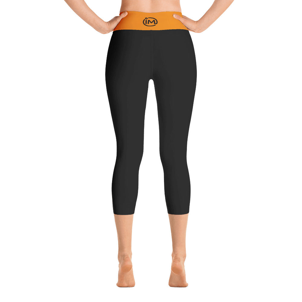 Black Yoga Capri Leggings with Tangerine Waistband - IvaMichele