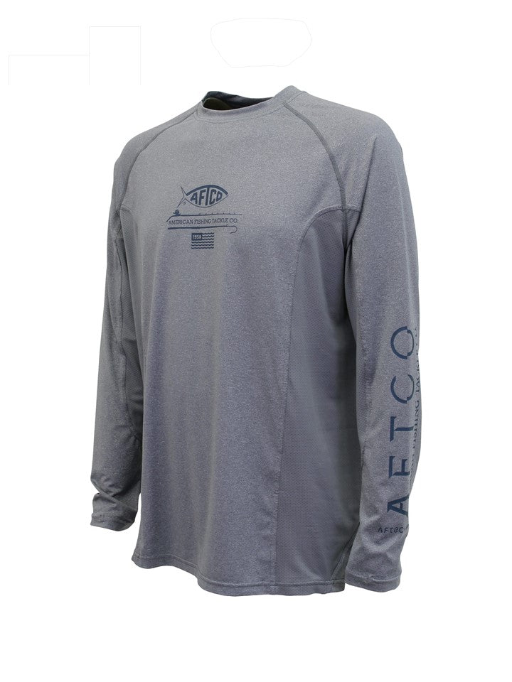 VEXUS® / AFTCO Gray Heather Barracuda Geo Cool™ Performance L/S Tee