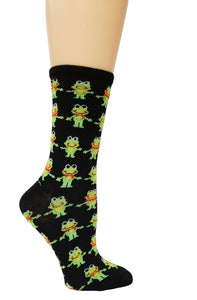Women's Fun Novelty Socks - Funny Frogs