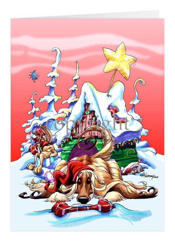 Afghan Hound - Doghouse - Christmas Card