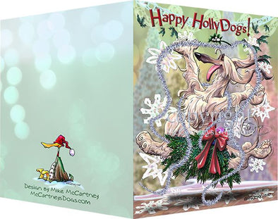 Afghan Hound - Happy Holly Dog Pine Skirt - Christmas Card