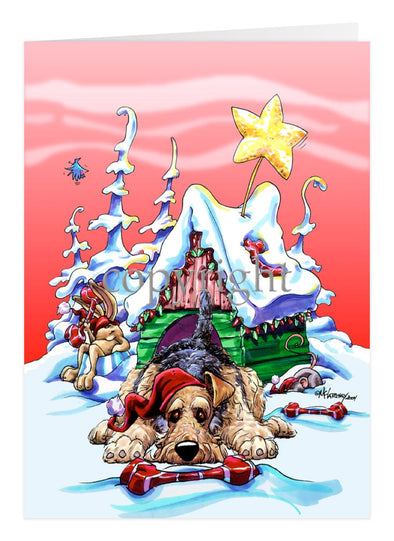 Airedale Terrier - Doghouse - Christmas Card
