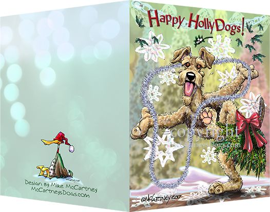 Airedale Terrier - Happy Holly Dog Pine Skirt - Christmas Card