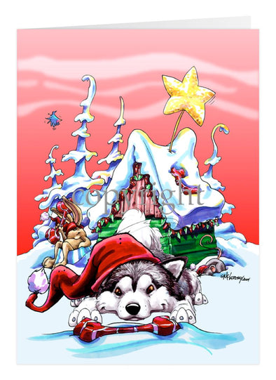 Alaskan Malamute - Doghouse - Christmas Card