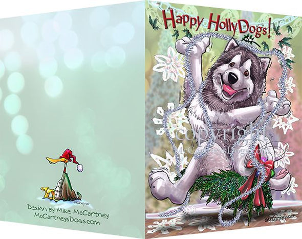 Alaskan Malamute - Happy Holly Dog Pine Skirt - Christmas Card