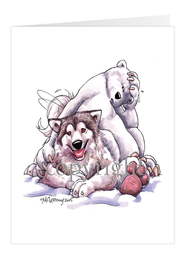 Alaskan Malamute - With-Polar-Bear - Caricature - Card