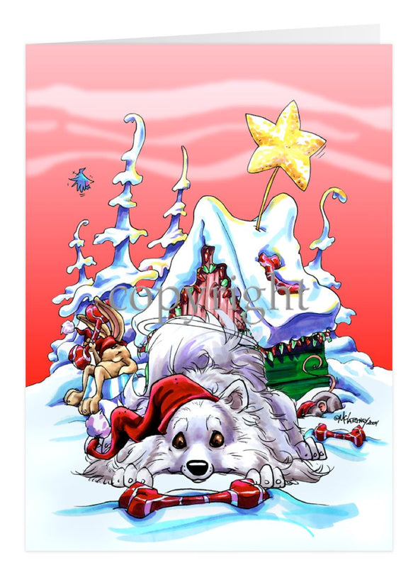 American Eskimo Dog - Doghouse - Christmas Card