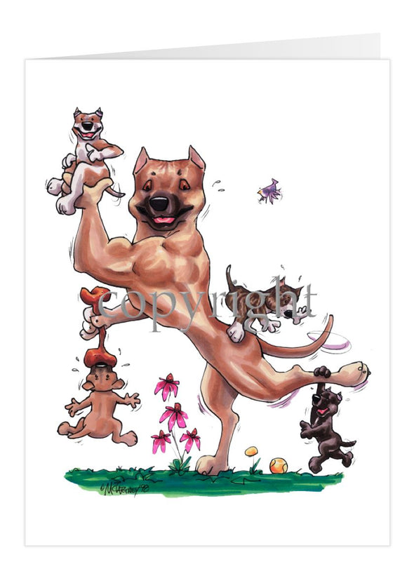 American Staffordshire Terrier - With Puppies - Caricature - Card