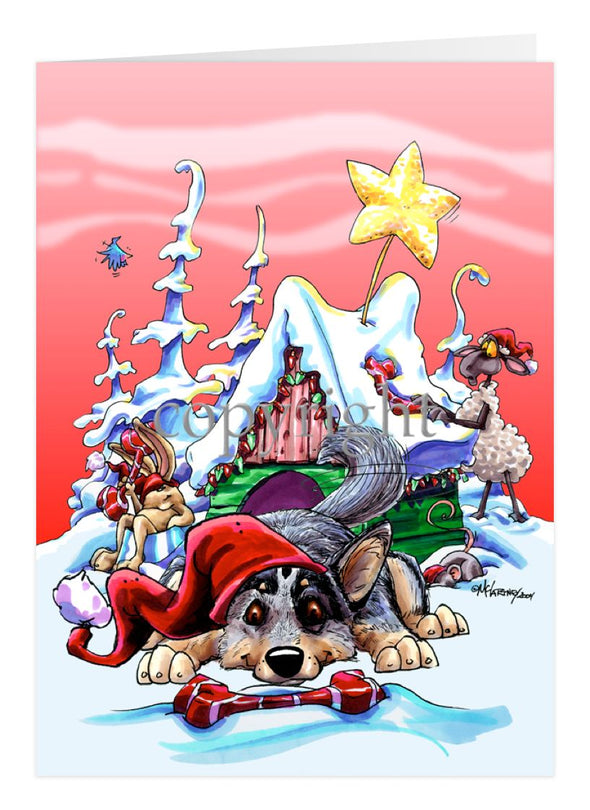 Australian Cattle Dog - Doghouse - Christmas Card