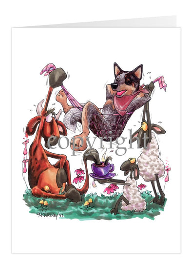 Australian Cattle Dog - Hammock - Caricature - Card