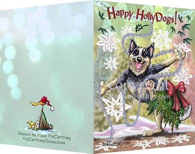 Australian Cattle Dog - Happy Holly Dog Pine Skirt - Christmas Card