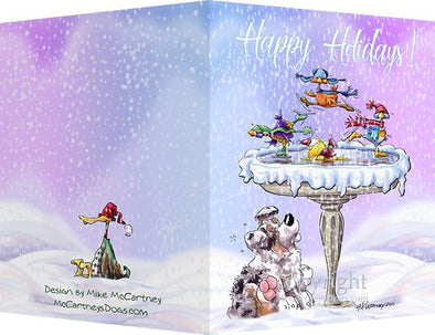 Australian Shepherd - Frozen Bird Bath - Christmas Card