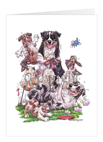 Australian Shepherd - Group Sheep And Puppies - Caricature - Card