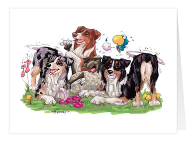 Australian Shepherd - Group Tickling Sheep - Caricature - Card