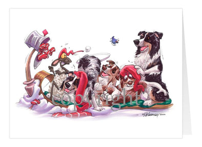 Australian Shepherd - Group Toboggan - Christmas Card
