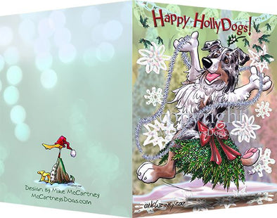 Australian Shepherd - Happy Holly Dog Pine Skirt - Christmas Card