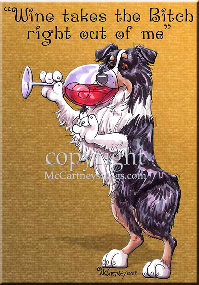 Australian Shepherd Black Tri - Wine Takes The Bitch - Cutting Board