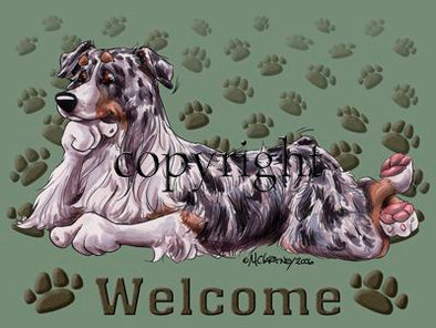 Australian Shepherd Blue Merle - Welcome - Mat