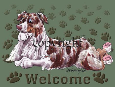 Australian Shepherd Red Merle - Welcome - Mat